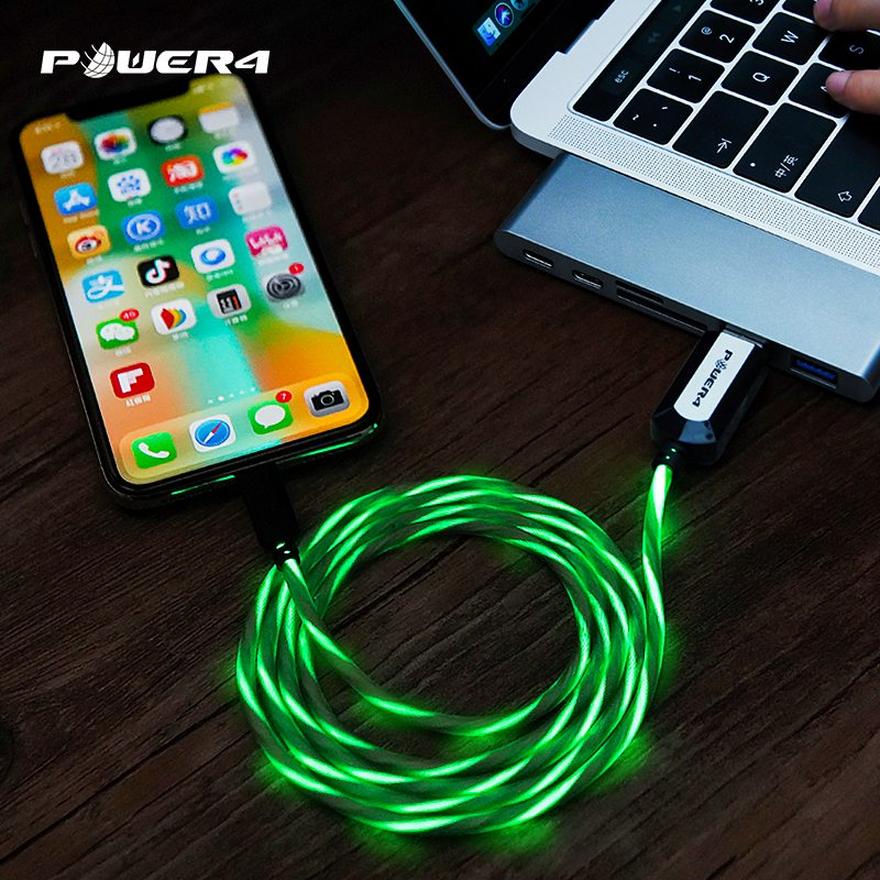LED flowing charging usb cable EL glowing Data line charging fast usb for iPhone