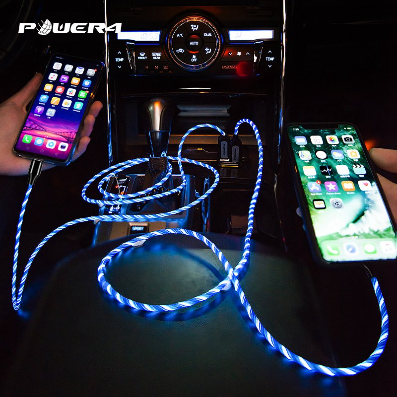 Young popular fashion luminous atmosphere lights shine iPhone fast charging cable