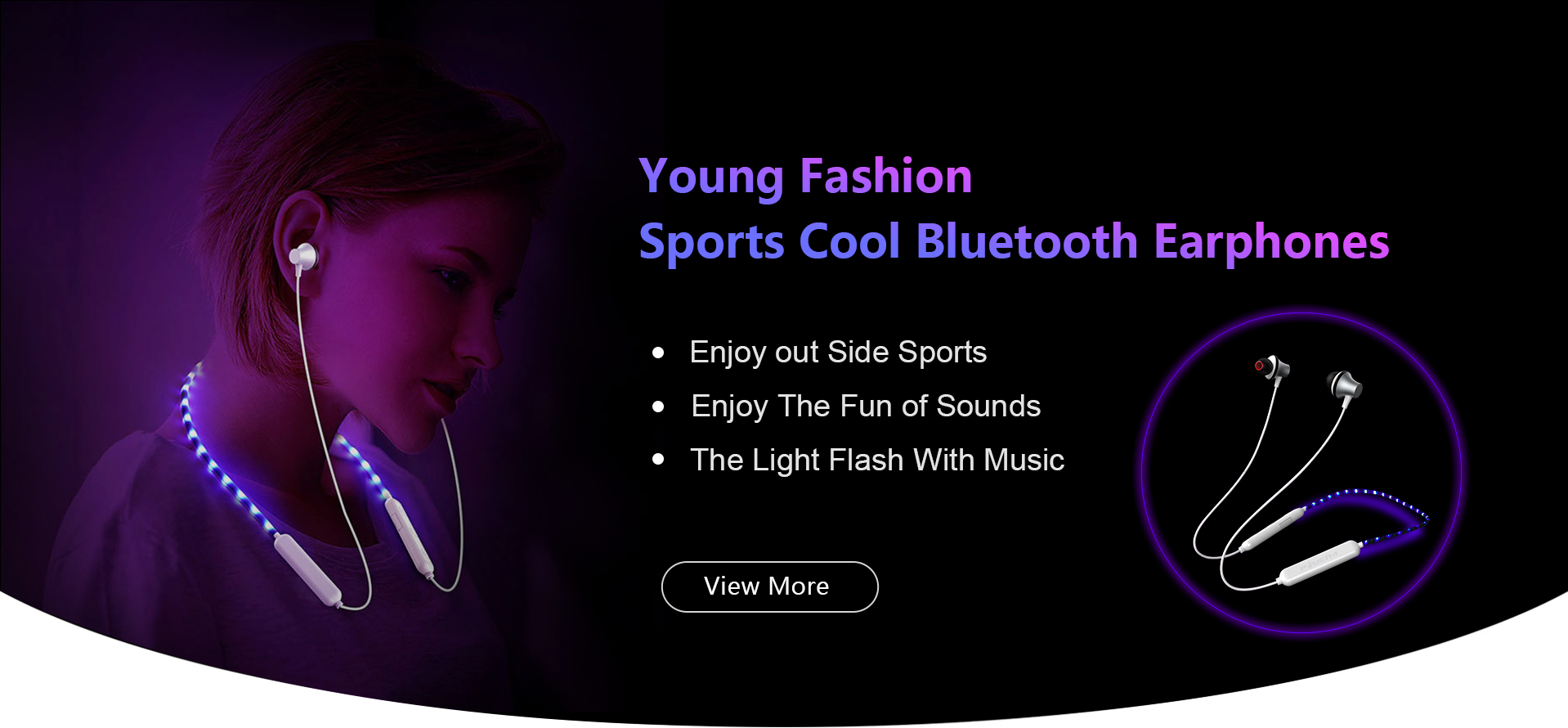 led lighted bluetooth earphone