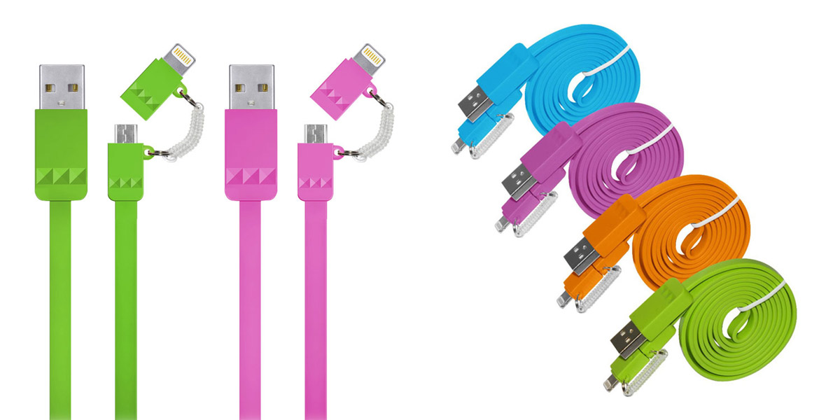 2 in 1 Lightning to Micro USB Flat Cable