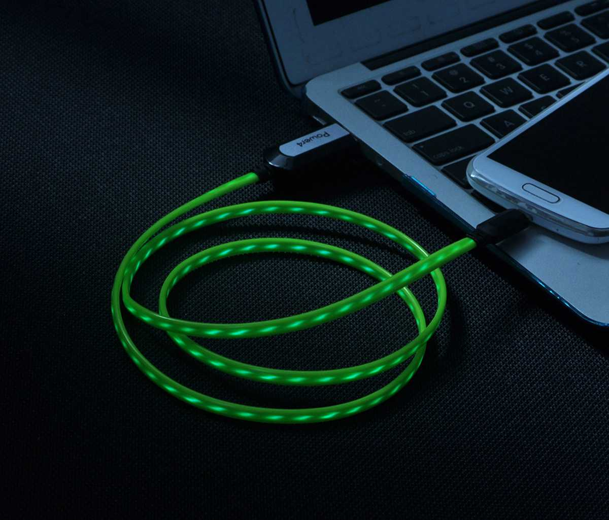 EL Visible Micro USB Flowing Flat Cable