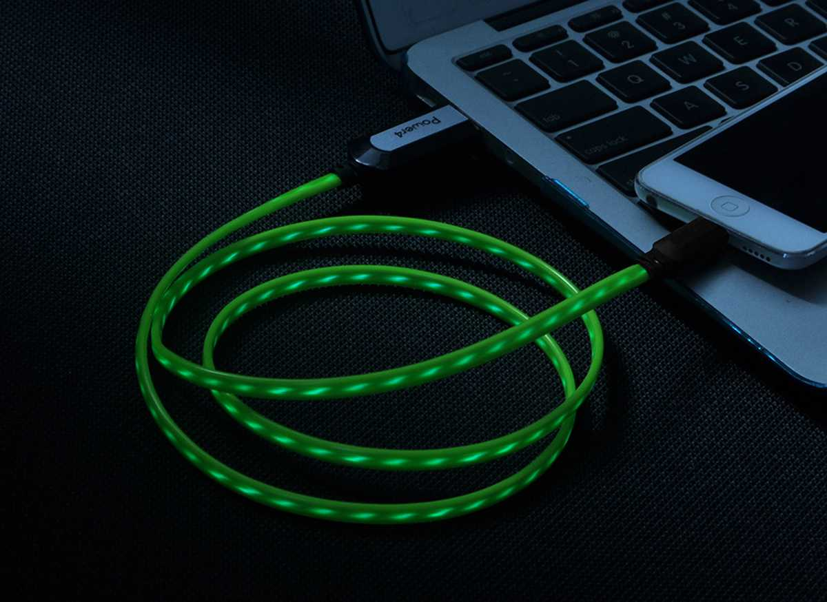 EL Visible 8 Pin Lightning USB Flowing  Flat Cable