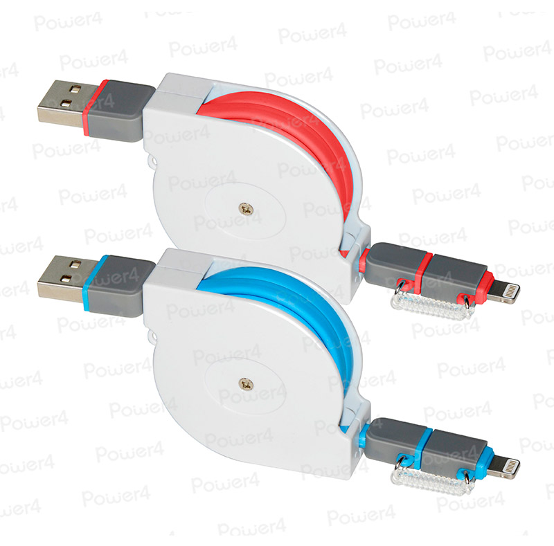 2 in 1 Retractable Lightning to Micro USB Flat Cable WPL033RT
