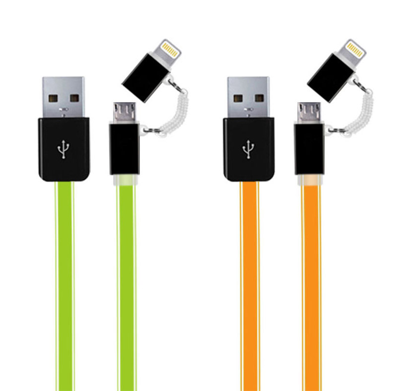 2 in 1 Lightning to Micro USB Flat Cable WPL035