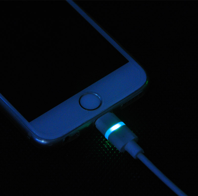 MFI 8 Pin Lightning to USB Round Cable with LED colorful Light WPL039
