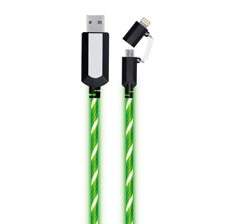 EL Visible 8 Pin Lightning To Micro USB Flowing Round Cable LD003