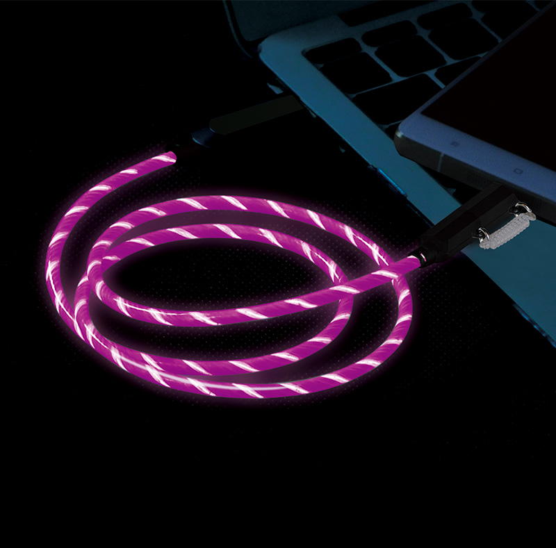 2 in 1 EL Visible  Type-C to Micro USB Flowing Round Cable LD005