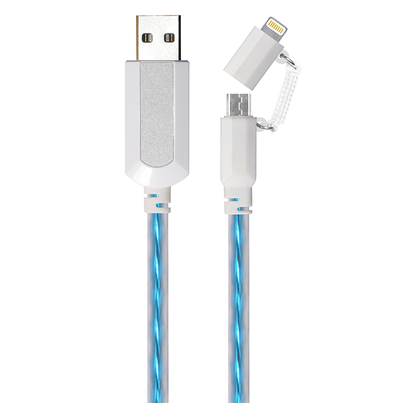 2 in 1 EL Visible 8 Pin Lightning To Micro USB Flowing Flat Cable LDF003