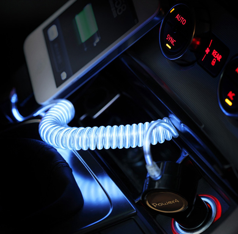 2.1A USB Car Charger with LED Light Micro USB Conectors Cable WP007M