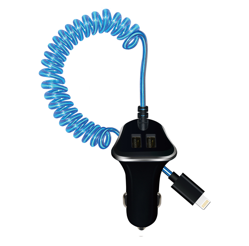 Dual USB Car Charger with El Light Spring Cable WP011