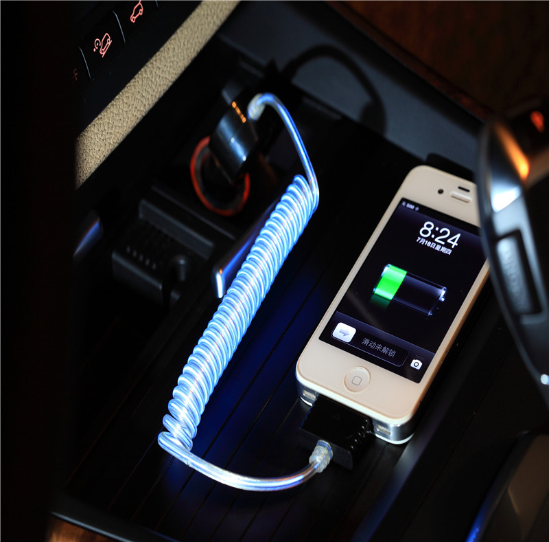2.4A USB Car Charger with LED Light Lightning Conectors Cable WP007i5
