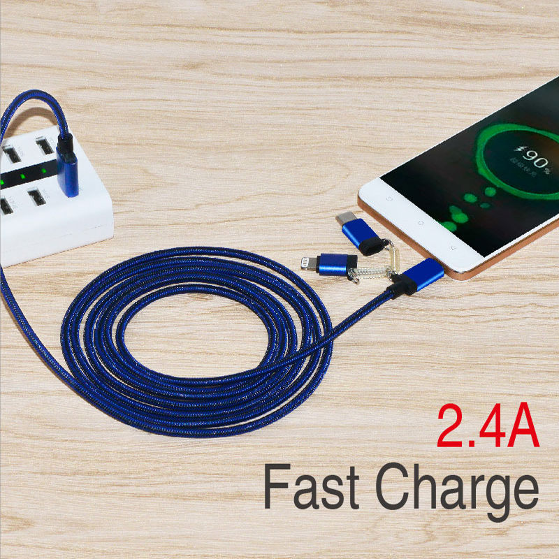 3 in 1 Type -C /Lightning /Micro USB Phone Charger Charging Cable for Apple iPone and Android device
