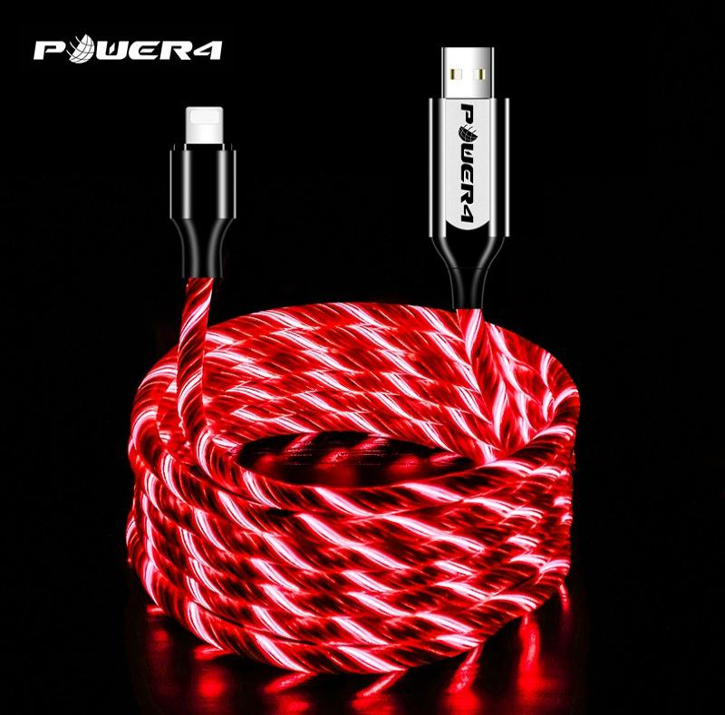 Light up iphone charger usb cable for lightning fast charging PVC high quility usb