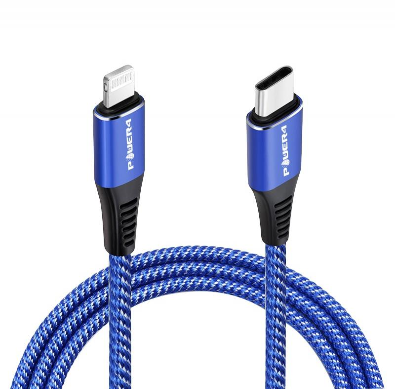 nylon braided mobile charger cable pd fast charging protector iphone usb-c to lightning cables